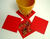 Four Bright Red Square Coasters