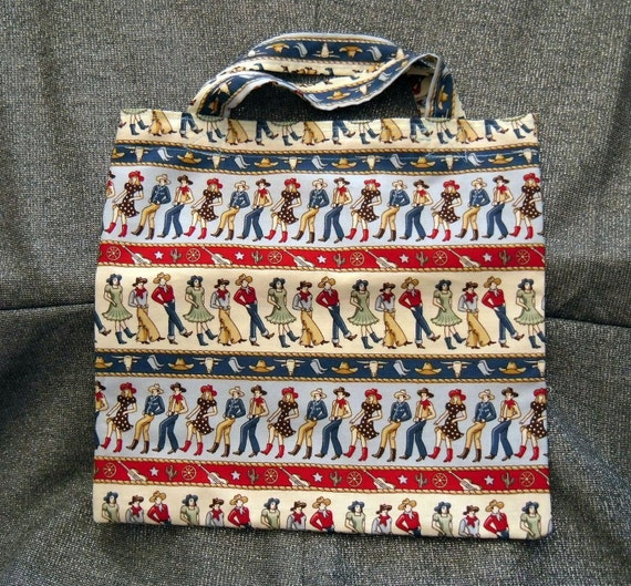 Book Lunch Small Tote N Gift Bag, Western Dancers Print