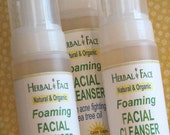 Organic Foaming Facial Cleanser, vegan, with lavender and tree tree oil