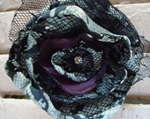 Black & White Snake Skin Lace Print, Deep Purple Silk, Tulle and Vintage Rhinestone Hair Candy