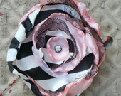 Black & White Stripe , Baby Pink Silk, Tulle and Vintage Rhinestone Hair Candy