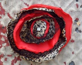 Leopard, Cherry Red Silk, Tulle and Vintage Rhinestone Hair Flower