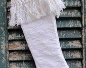 Vintage White Damask Christmas Stocking