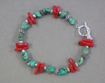 Bracelet Turquoise and Coral