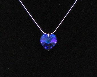 Necklace Blue Swarovski Heart