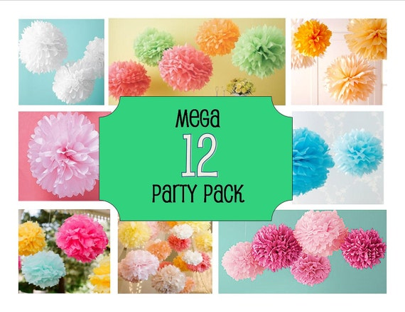 """SALE - """"MEGA"""" Party Pack - 12 Tissue Paper Pom Poms/ Flowers Perfect  for a Party, Wedding and Baby Showers, Graduation, and more"""