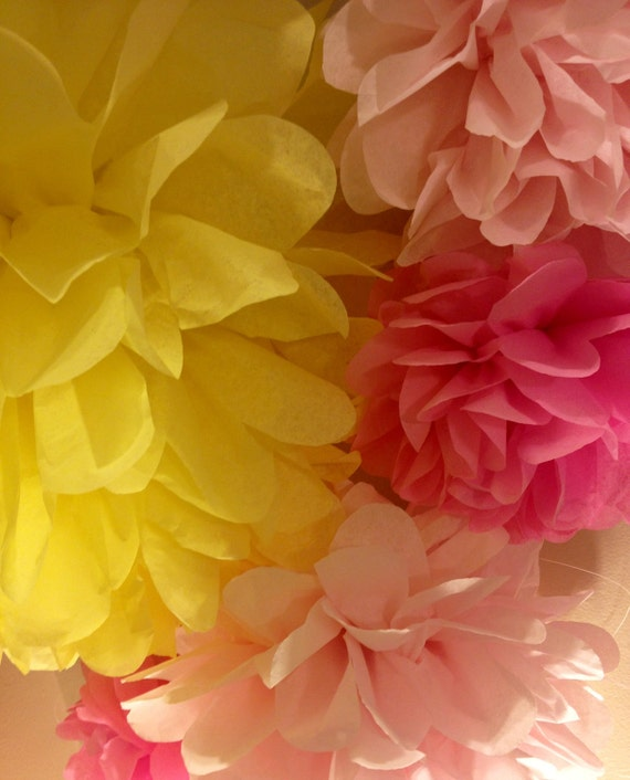 PARTY PACK - Pink Lemonade Stand Theme- Tissue Paper Pom Poms/ Flowers Perfect  for a Party, Wedding and Baby Showers, Graduation, and more