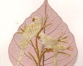 Parrots. Birds on a leaf art. Not a print. Real handmade original work of art.  Do you own a investment grade art, affordable