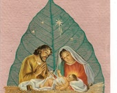 Christmas Nativity scene on a leaf.  Green, Sustainable, Handcrafted Leaf art Limited Edition, signed numbered