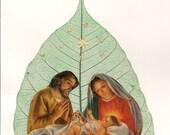 CIJ, Christmas in July, Nativity, handmade art. leaf art