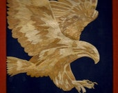 Unique gift. Flying Eagle Handmade with rice leaves.  FREE SHIPPING Thousands of tiny pieces of rice straw in creating this original art