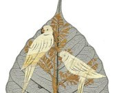 VALENTINE Love Birds Handmade with dried leaves of rice plant. No two leaves or leaf art exactly alike