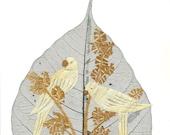 Valentine gift.  No two leaf or leaf art exactly alike  Handmade leaf art for your Valentine LOVE BIRDS