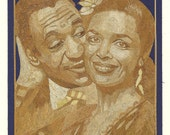 BILL COSBY and Friend on rice straw art portrait. Can you believe it is made of leaves of rice plant.  Ancient & Endangered leaf art