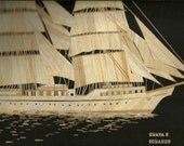 Tallships from around world. Etsy Sailing ship of  ECUADOR Handmade leaf art of GUAYA Tallship of ECUADOR
