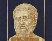 GREEK Philosopher PLATO  Greece.  Greek art.  Plato in rice straw art.  Handmade leaf art ETSY art