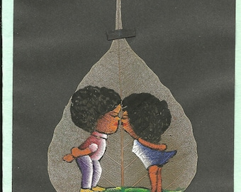 valentine Gift. Boy and Girl Kissing  Handpainted on a real leaf.  Collectible leaf art.  Size 5X7 inches Ready to frame