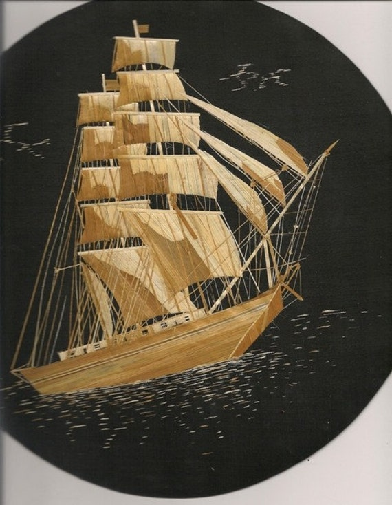 Tallship handmade with rice leaves  Round with hook Size 11 circumference Original art 1/2 Price SALE