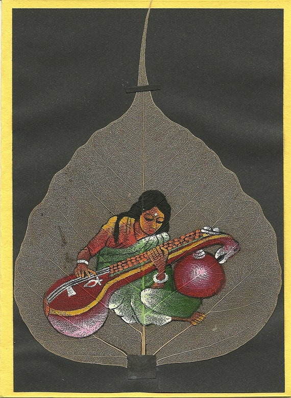 Women playing Sitar.  Painting on a real leaf.  Original leaf painting of women playing Sitar. Original painting. CHRISTMAS gift