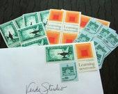 Learning Never Ends  .. UNused Vintage Postage Stamps  .. post 10 letters