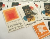 Photography  .. UNused Vintage Postage Stamps  .. post 5 letters