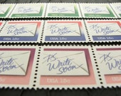 Subtle Hint .. UNused Vintage Postage Stamps  .. post 5 letters
