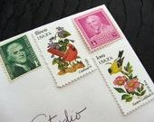 Aves .. Flora .. UNused Vintage Postage Stamps  .. post 20 letters