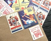 Circus .. Clown .. Vintage UNused Postage Stamps .. to post 5 letters