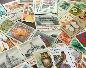 GRAB BAG .. random eclectic mix .. UNused Vintage Postage Stamps .. to post 20 envelopes