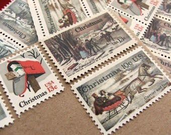 Christmas .. Along the Winter Road .. UNused Vintage Postage Stamps  .. post 5 letters