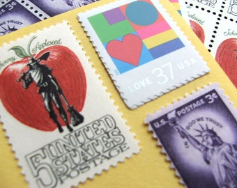 I LOVE New York .. Vintage UNused Postage Stamps .. to post 5 letters