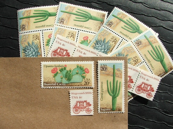 Wild West .. UNused Vintage Postage Stamps  .. post 5 letters