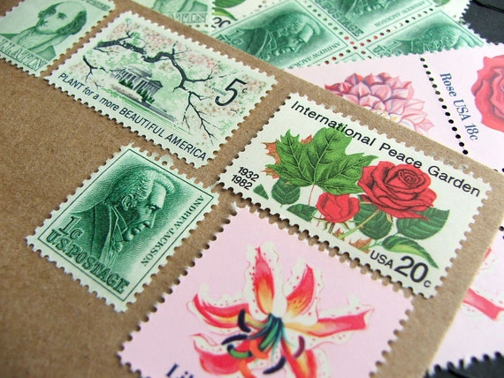 Roses and such .. Vintage UNused Postage Stamps .. to post 5 letters