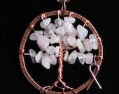 Rose Quartz Tree of Life Pendant with Ribbon