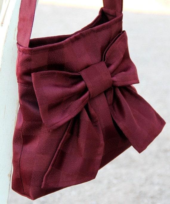 Burgundy Bow Bag / Purse w/ Adjustable Strap