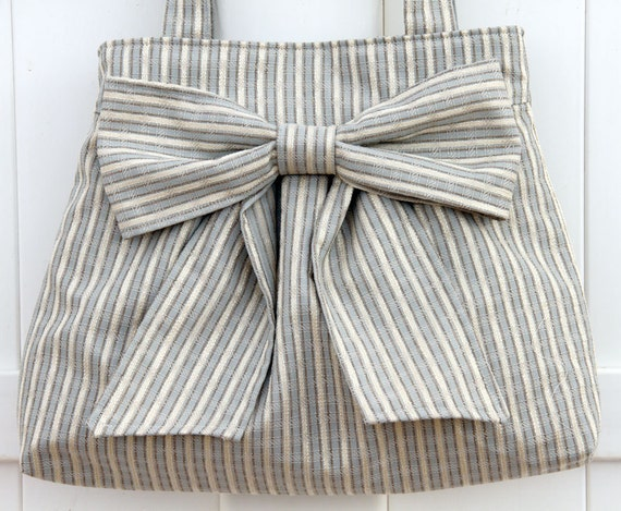 Sale---Blue and Cream Striped Bow Bag / Purse w/ double handles, Last one available