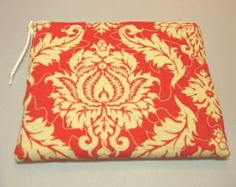 Quilted Zipper Pouch in Persimmon Aviary Damask Print