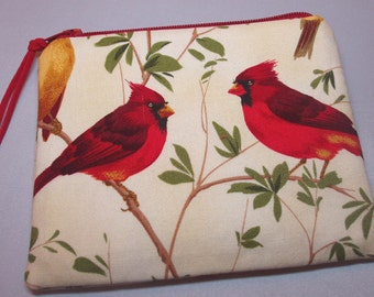 Padded Cosmetic Zipper Pouch Coin Purse in Cardinal Branches Bird Print