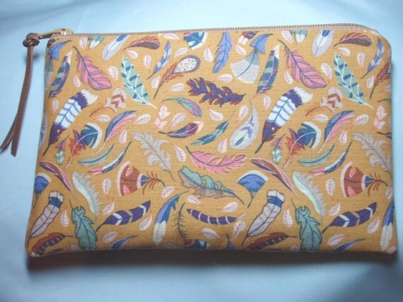 Handmade Coin Purse Change Purse Cosmetic  Zipper Pouch -Golden Tossed Feathers