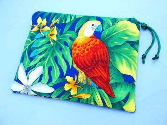 Padded Cosmetic Pouch Zipper Pouch In Vibrant Scarlet Macaw Tropical Print