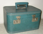 Vintage Blue Train Case with Key