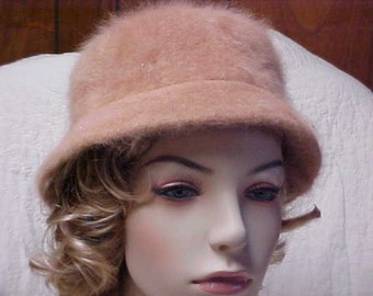 Soft Angora woman's hat in tan color- by Designer David and Young