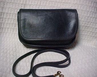 Blue/black leather dainty Coach shoulder bag- cross body purse-clutch