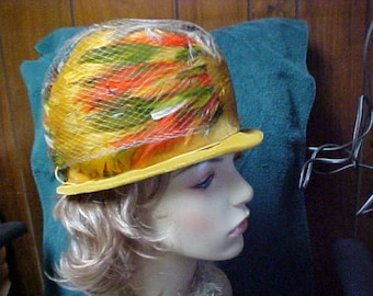 Multi color feather cloche hat in yellow green orange and brown  union made