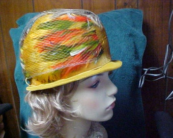 SALE  Multi color feather cloche hat in yellow green orange and brown  union made