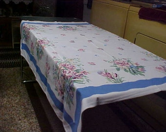 Vintage table cloth white background blue flowers and blue border 52X48 inches (Brooke Shields)