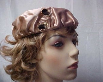 SALE Beige satin  hat Dolly Madison label  with rhinestone and jewel decoration