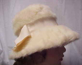 White furry cloche hat with wide grosgrain ribbon -made in France