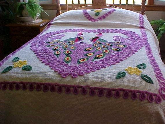 Sale Vintage Double Peacock Chenille Bedspread By Designer2