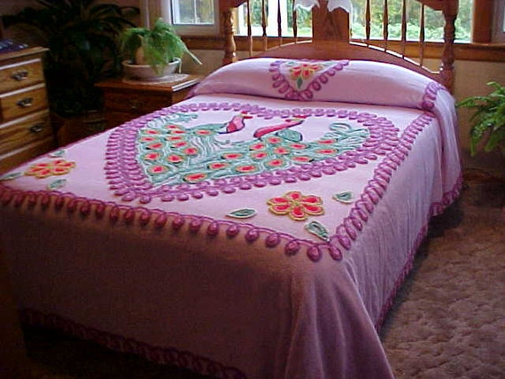 SALE Bright color vintage Chenille Peacock  Bedspread in Lilac and purple fits double bed